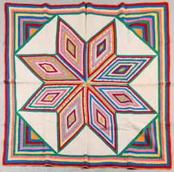 Hand-stitched Colorful Star of Bethlehem Quilt