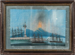 Framed Gouache on Paper of the Eruption of Mt. Vesuvius