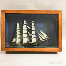 Painted and Carved Wood Diorama of a Clipper