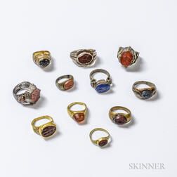 Group of Carved Hardstone Seal Rings.