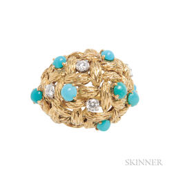 18kt Gold, Turquoise, and Diamond Ring, Mauboussin,