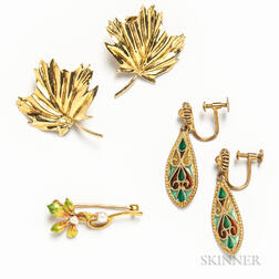 Pair of 14kt Gold Leaf Earrings, a 14kt Gold Art Nouveau Enameled Flower Brooch, and a Pair of Plique-a-jour Earrings