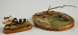 Two Miniature Carved and Painted Figural Groups