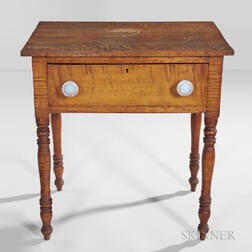 Tiger Maple and Bird's-eye Maple One-drawer Stand