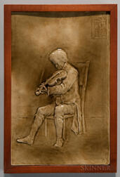 Framed J. & J.G. Low Art Tile Works Art Pottery Tile of a Man Playing the Violin