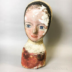 Polychrome Painted Papier-mache Milliner's Model of a Woman