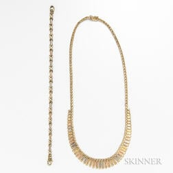 14kt Tricolor Gold Necklace and Bracelet
