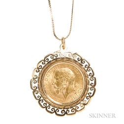 George V 1927 Gold Sovereign Pendant