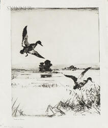 Frank Weston Benson (American, 1862-1951)      Two Black Ducks