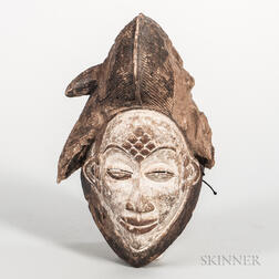 Punu-style Carved Wood Face Mask
