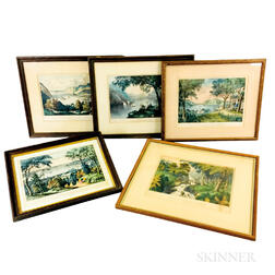 Five Framed Currier & Ives Lithographs of Hudson River Views