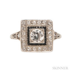 Art Deco White Gold, Diamond, and Onyx Ring
