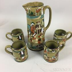 "Buffalo Pottery ""Ye Olden Days"" Deldare Ware Pitcher and Four Mugs"