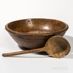 Large Turned Burl Bowl and Carved Ladle