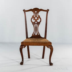 Chippendale Mahogany Rush-seat Side Chair