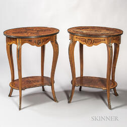 Pair of Inlaid and Ormolu-mounted Oval Side Tables