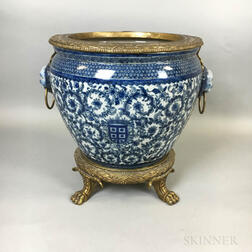 Continental Export-style Brass-mounted Blue and White Ceramic Jardiniere