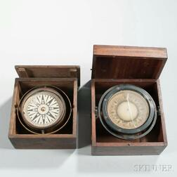 Two Boxed Gimbaled Ship's Compasses