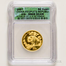1997 Chinese 50 Yuan Large Date Gold Panda, ICG MS69.