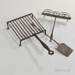Three Wrought Iron Hearth Items
