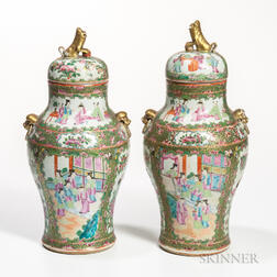 Two Export Rose Medallion Covered Jars