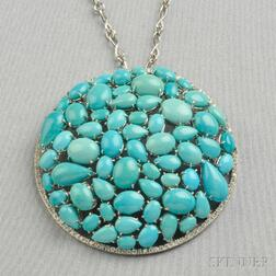 18kt White Gold, Turquoise, and Diamond Pendant, Zydo