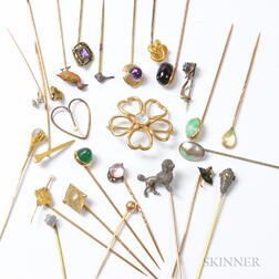 Group of Gem-set Stickpins and a 14kt Gold and Moonstone Flower Brooch