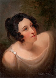 Attributed to Rembrandt Peale (American, 1778-1860)      Portrait Head of a Woman in Neoclassical Dress