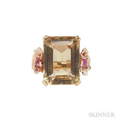 Retro 14kt Gold, Citrine, and Ruby Ring