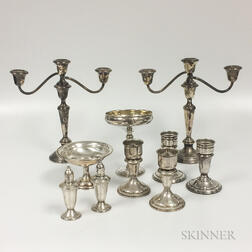 Twelve Pieces of Weighted Sterling Silver Tableware