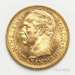 1910 Danish 20 Kroner Gold Coin.     Estimate $200-300