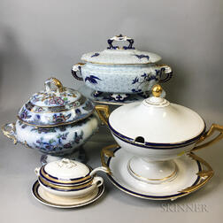 Four English Ceramic Tureens and Undertrays