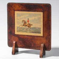 Small Leather-covered Screen with Applied Fox Hunt Image