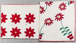 Two Hand-stitched Floral Applique Quilts
