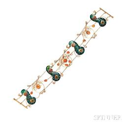 Arts and Crafts Enamel, Fire Opal, and Freshwater Pearl Dog Collar,