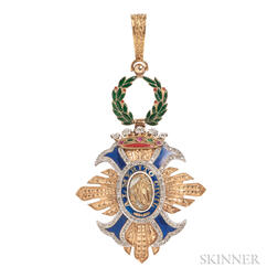 "18kt Gold, Enamel, and Diamond ""Order of Civil Merit"" Pendant"