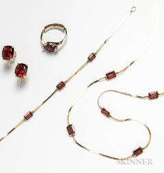 14kt Gold and Garnet Necklace, Bracelet, Ring, and Earclips