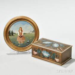 Martha Farham Cahoon Painted Rectangular Box and   Circular Portrait of a Young Girl