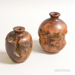 Two Modern Turned Burl Vases