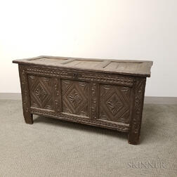 Carved Oak Joined Chest