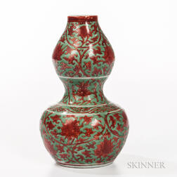 Red- and Green-enameled Double Gourd Vase