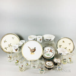 Group of Bird-decorated Glass and Ceramic Tableware Items.     Estimate $400-600