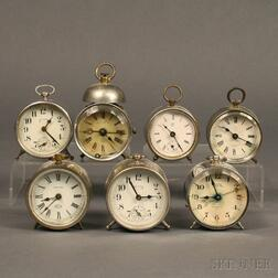 Seven Desk and Alarm Clocks