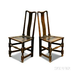 Pair of Queen Anne Provincial Oak Side Chairs