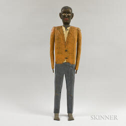 Carved and Painted Wood Folk Sculpture of a Man
