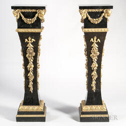 Pair of Louis XIV-style Gilt-metal-mounted and Marble-veneered Torchieres