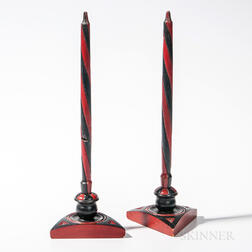 Carved and Paint-decorated Faux Candlesticks