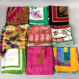 Group of Italian and French Designer Silk Scarves