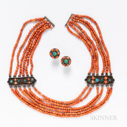 Chinese Multi-strand Coral and Turquoise Beaded Necklace and Matching Earrings