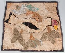 Hooked Rug with Bird